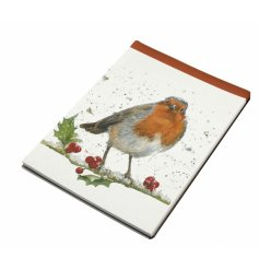 Part of a delightful range, this winter robin and holly printed note book also features a red strip edge