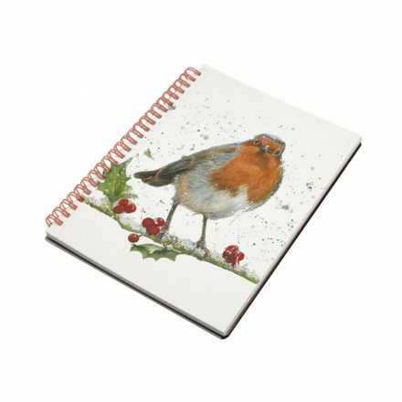 Winter Robin & Holly Notebook, A5