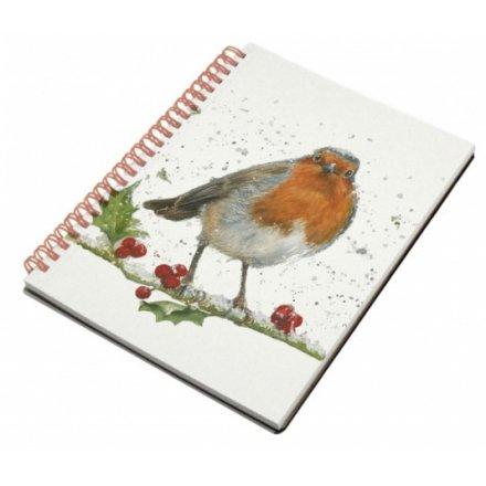 Winter Robin & Holly Notebook, A6