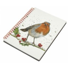 Part of a delightful range, this winter robin and holly printed hard back note book also features a spiral spine