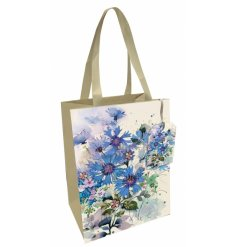Decorated with a beautiful blue cornflower decal, this gift bag also features ribbon handles