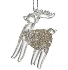 A Clear Glitter Covered Reindeer For Your Tree