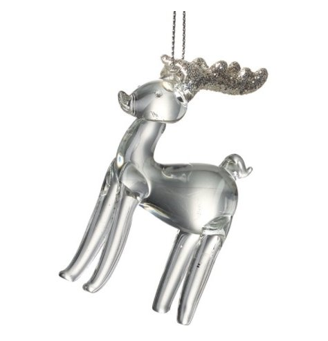 A clear glass reindeer hanging decoration with a decorative glitter antler finish