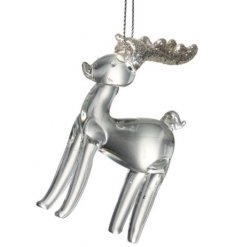 A chic and simple hanging glass reindeer decoration complete with glittery antlers