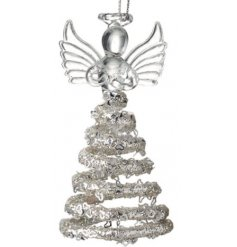 A beautifully detailed hanging glass angel featuring a spiral skirt with added glittery accents and details