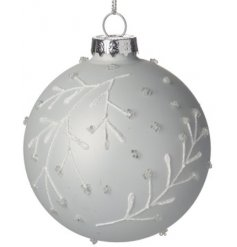 Silver Bauble with White Leaves and Glitter Beading
