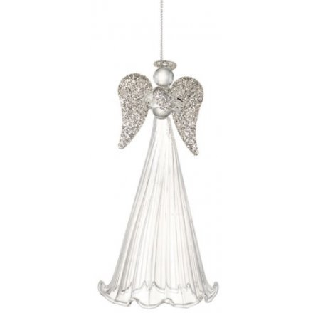 Glass Hanging Angel With Glitter Wings, 14cm