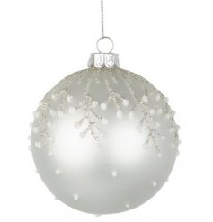 A White Christmas Inspired Glass Bauble with Glitter Finish