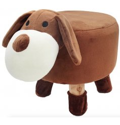 A cute little brown dog themed stool with added protected feet to stop floor scratches