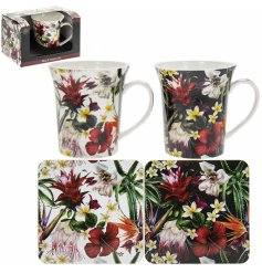 Part of a delightful new range of home and kitchenwares, a charming set of a cork based coaster and mug from the hibisc