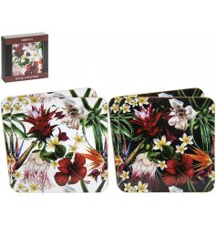 Part of a delightful new range of home and kitchenwares, a charming set of cork based coasters from the hibiscus Range