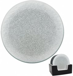 Sure to add a WOW touch to any home space, a silver glitter and mirrored tlight holder with added sparkly accents