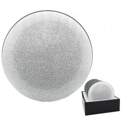A glitzy and glam themed glass candle plate with an added mirrored decal and chic look
