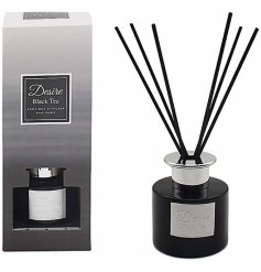 this black toned reed diffuser also features silver accents and a stunning gift box to match