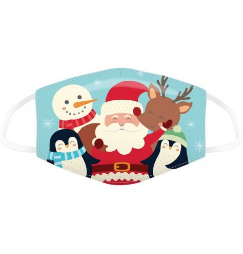 A fabric face covering decorated with a quirky and festive themed Christmas Character design