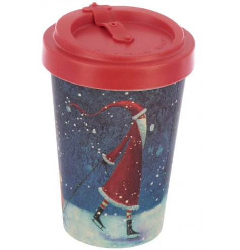 A charming festive themed bamboo travel mug with a red melamine lid and anti drip closure