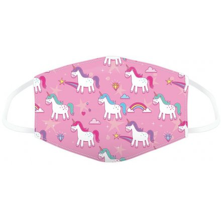 A bright pink unicorn themed face covering perfect for any little one when going out and about!