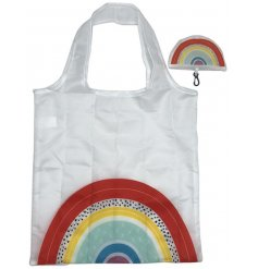 A fun and cheery themed fabric shopping bag with a delightful rainbow print and matching folding pocket