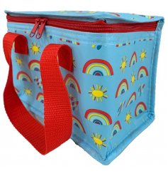 A red and blue toned fabric lunch bag featuring bold red accents and a charming rainbow printed decal