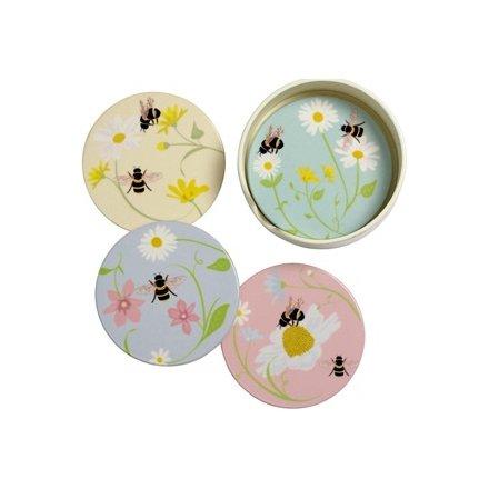 Set of Ceramic Bee Coasters