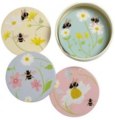 A charming and colourful set of ceramic coasters with a busy bee print to each