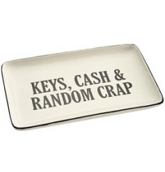 Perfect for all your loose crap and random bits that dont have a home! A small dish with a bold text print and sleek de
