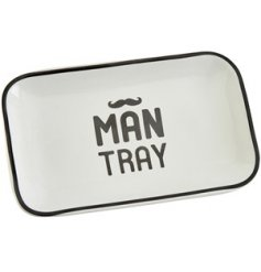 A black and white toned ceramic tray set with a bold text decal