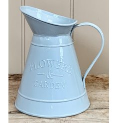 A charmingly simple decorative metal jug complete with a sleek grey colour coating and an embossed text decal