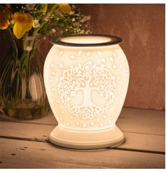 A white ceramic based lamp complete with an embossed Tree of Life embossed decal and an added dipped dish top for oil/wa