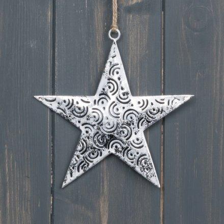 Tarnished Silver Star Hanger, 13cm