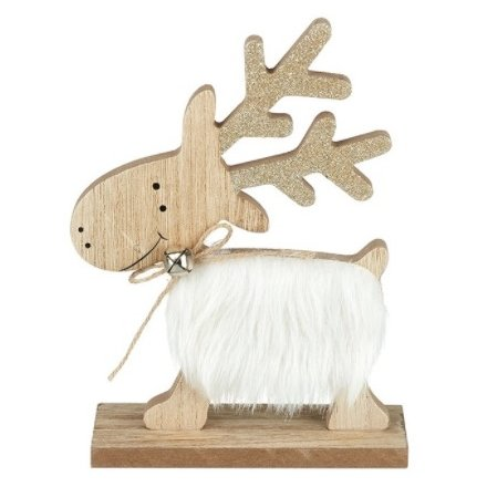 Wooden Reindeer With Glitter Antlers, 18cm