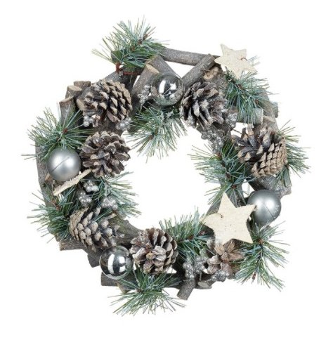 A beautifully rustic wreath with artificial foliage, pinecones and silver baubles.
