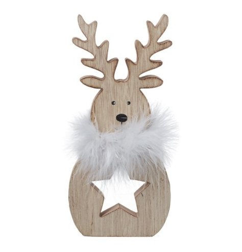 A simple wooden reindeer decoration with a white fuzzy collar and star cut centre