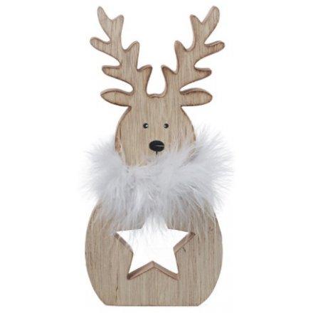 Fuzzy Collar Wooden Reindeer, 18cm