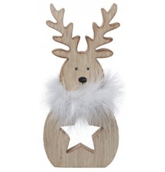 A charming and simple wooden standing reindeer decorated with a star cut centre and added white fluffy collar