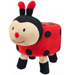 A large and plush ladybird stool with added matching sockies to prevent floor scratches!