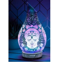 A gorgeously decorated Glass Humidifying Lamp with an added LED Aroma Bulb inside and 3D Sugar Skull Decal