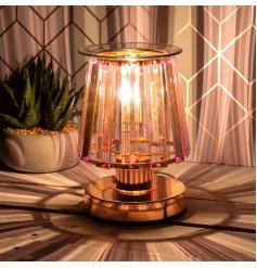 a stunning Glass Aroma Lamp with an opaque pink panel design