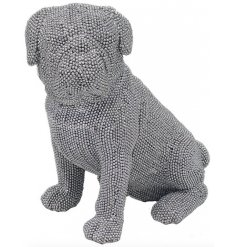 A gorgeously glitz themed sitting pug ornament set with a silver tone