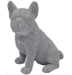 A gorgeously glitz themed sitting french bulldog ornament complete with a silver tone and sparkle