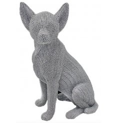 Sure to bring a touch of bling and glitz to your home, a  diamonte covered sitting Chihuahua ornament