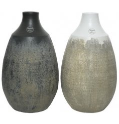 An assortment of large terracotta based decorative vases, both set with its own tarnished touches and ombre colouring