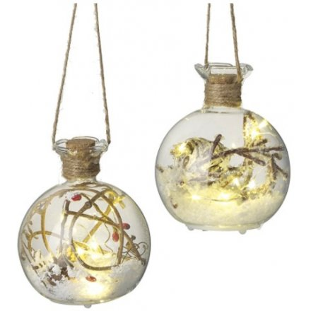 Twig & Snow Filled LED Baubles, 10cm