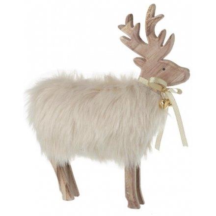 Faux Fur Wooden Reindeer, 24cm