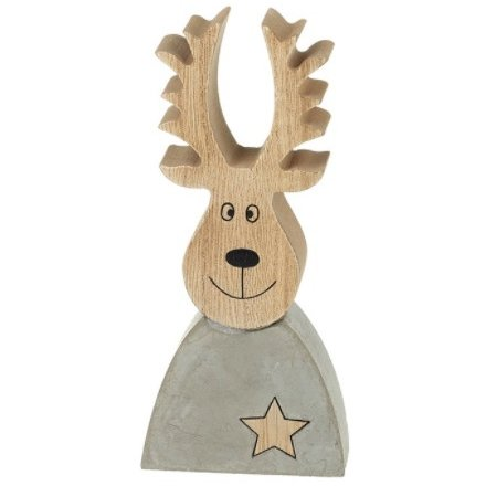 Cement and Wood Reindeer, 17cm