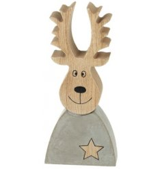 A charming and simple cement and wood reindeer decoration