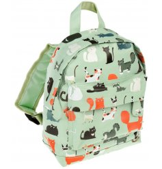 Covered in an array of cat illustrations, this little fabric bag will be sure to keep little ones organised for school