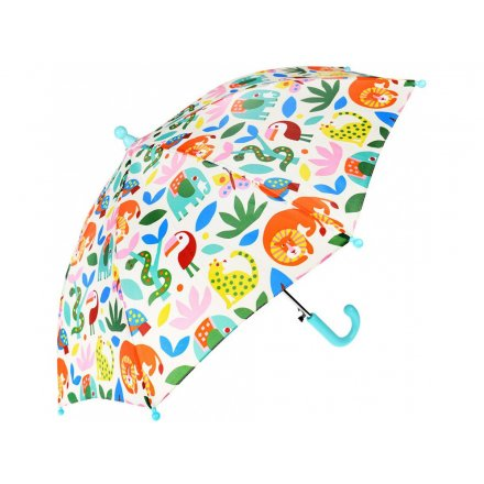 A child sized umbrella with a fun multi tone and added array of different animals