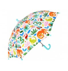 A Childrens Sized Umbrella decorated with a fun and colourful Wild Wonders theme print