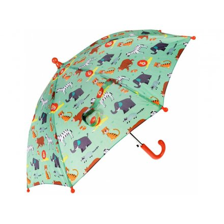 A child sized umbrella with a fun red and green tone and added array of different animals